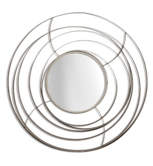 ORBITAL MIRROR I   1in X 27in    Orbital Mirror I   Contemporary Silver Finish Metal Wall Mirror