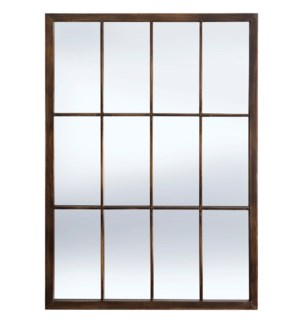 BRADLEY BRONZE MIRROR | 20in w. X 28in ht. X 1in d. | Powder Coated Window Pane Wall Mirror