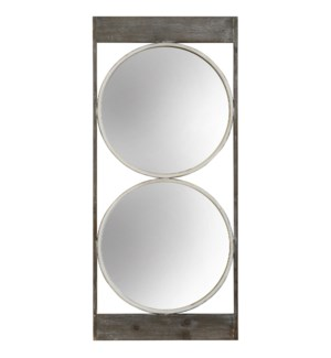 WILLOW SPECTACLE MIRROR | 21in w. X 47in ht. X 1in d. | Weathered Wood and Clear Two Circle Wall Mir