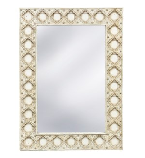 ANTIQUE EGGSHELL MIRROR | 35in w. X 48in ht. X 2in d. | Tiled Wood Frame Traditional Wall Mirror