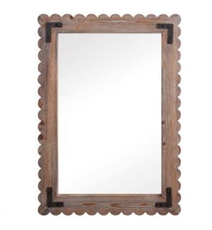 ROUTER WASHED MIRROR | 23in w. X 32in ht. X 1in d. | White Washed Wood with Metal Bracket Framed Wal