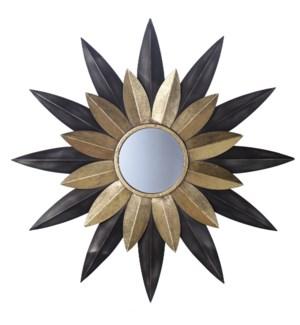 STAR STRUCK MIRROR | 32in w. X 32in ht. X 1in d. | Metal Sculture Pedal Star Burst Wall Mirror