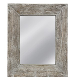 WASHED BARNWOOD MIRROR | 32in w. X 39in ht. X 3in d. | Weather Wood Framed Wall Mirror