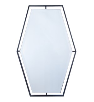 EBONY METAL MIRROR | 21in w. X 32in ht. X 1in d. | Metal Framed Wall Mirror with Beveled Floating In