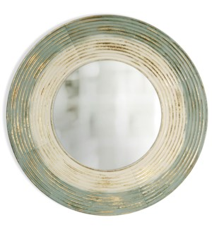 BRUSHED GOLD | 35in ht  X 35in w  X 2in d  | Painted Metal Wall Mirror |