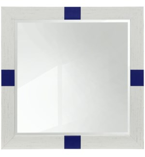 Wooden Painted Color Block Mirror White with Blue | 27in X 27in | Framed Wall Mirror