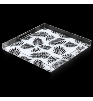 SINGAPORE BLACK PALM TRAY   2in X 20in   A stylish acrylic catch all tray featuring signature patter