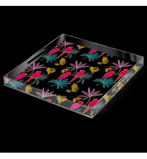 SINGAPORE FUSCIA BIRD TRAY | 2in X 20in | A stylish acrylic catch all tray featuring signature patte