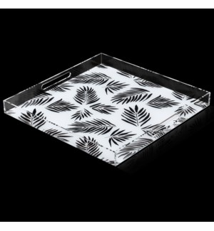 SINGAPORE BLACK PALM TRAY | 2in X 18in | A stylish acrylic catch all tray featuring signature patter