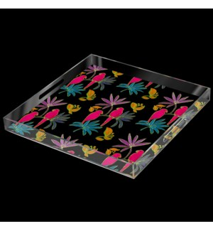 SINGAPORE FUSCIA BIRD TRAY | 2in X 18in | A stylish acrylic catch all tray featuring signature patte