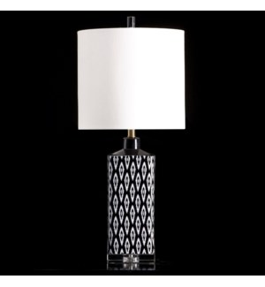BLACK IKAT | 31in | The Black Ikat table lamp adds a dramatic punch to your interior.  Featuring a h