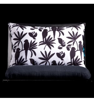 BIRD LUMBAR PILLOW | 3in X 20in | Black & White Bird Pillow. Vibrant colors and bold pattern choices