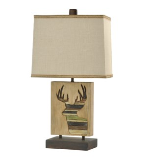 ARAPAHOE | 24in ht  X 13in w  X 12in d  | Traditional Lodge Design Table Lamp with Deer Carved Motif