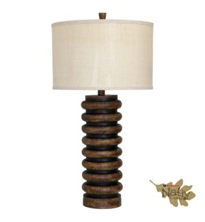 Ribbed Faux Wood Table Lamp with Custom Fabric Shade