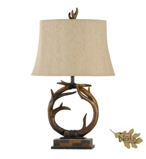 Antler Table Lamp with Custom Fabric Shade