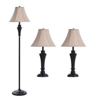 QB-Set of two aged bronze steel table lamps one aged bronze steel floor lamp Fabric Shades