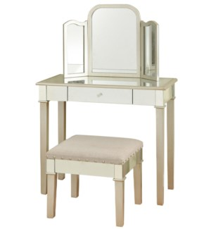 Hollywood glamour designed makeup vanity with trifold mirror a small bench Silver leaf mirror finish