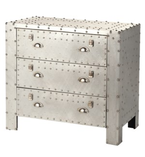 Industrial 3 Drawer Chest Of Aluminum And Chrome Rivet Details 34W 18D 32H