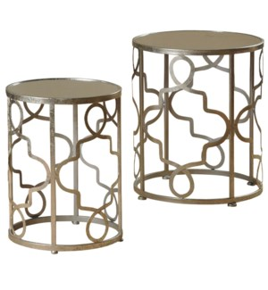 Nest of 2 round metal accent tables in silver leaf finish mirrored tops on both