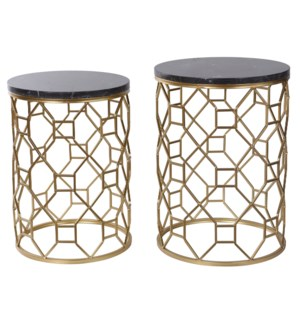 Set of Two Round Side Tables with Polished Light Brown Marble Top  Set on A Gold Finished Wrought Ir