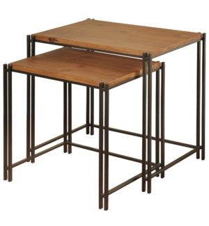 Set of 2 Nesting Tables with Wood Veneer Top on MDF Board  In A Medium Cherry Finish  with Black Pow