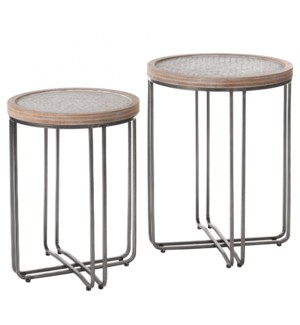 Ryder | 22in X 25in Height | Set of 2 Nested Round Tables Made of Metal & Fir Wood with Woven Rattan