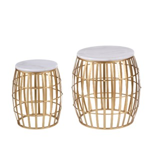 Gold Cage Marble Top Nesting Table Set | 19in X 19in X 20in | 15in X 15in X 17in | Set of 2 End Tabl