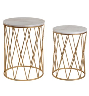 OLD GOLD NESTS | 16in w X 22in ht X 13in d | Set of Two Round Gold Nesting Tables with Marble Tops