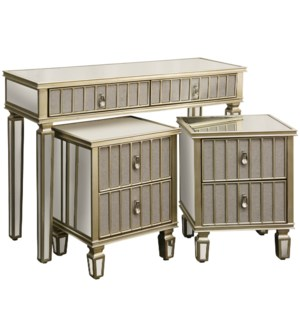 Set Of 3-1 Console with 2 End Tables In Champagne Finish. Light Grey Linen Fabric On Drawer & Door P