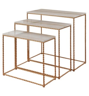 Nested Set of Three Petite Console Tables Made of Gold Finished Powder Coated Steel with a Faux Marb