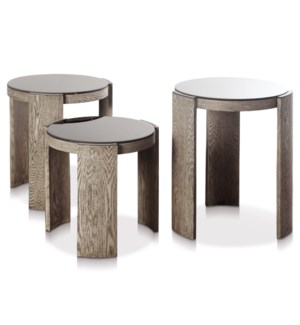 TRES TABLE SET | Large 20in w. X 24in ht. X 20in d. | Medium 19in w. X 21in ht. X 19in d. | Small 18