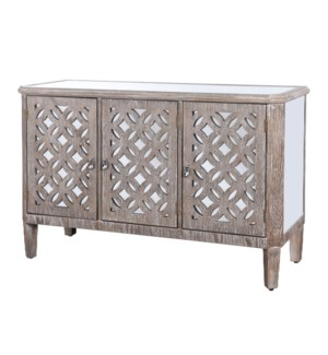 Mirrored and Distressed Wood Dresser with Three Doors Flanked by Filigree