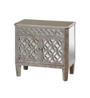 Mirrored and Distressed Wood Chest with Two Doors and One Drawer Flanked by Filigree
