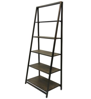 Metal and Wood Four Tier Leaner Shelf
