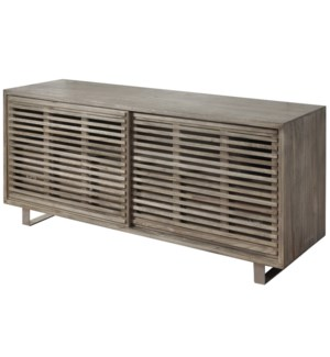 Media Cabinet with Sliding Louver Slat Doors  Made of Chinese Mahogany Wood Solids and Veneer  Plywo