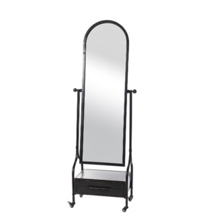 Cheval Mirror with Lower Storage Drawer  on Locking Castor Wheels. All Metal Construction  In A Blac