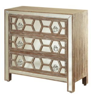 Three Drawer Chest with Panel Mirror Drawer Fronts And Picture Frame Mirror Trim. Hazelnut Wood Fini