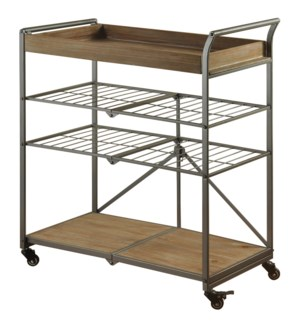 Grant Cart | 31in X 16in X 36in | Folding 4 Tier Metal Utility Cart in a Gray Powder Coat Finish. Th