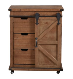 Graham | 33in X 15in X 27in | Cart Cabinet with 1 Door 3 Drawers in Natural Wood Finish with Locking