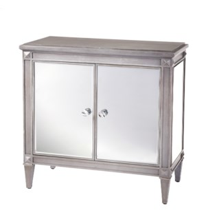 Weathered Grey Wood and Mirrored Cabinet | 34in X 36in X 18in | Two Door Cabinet