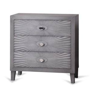 Grey Wooden Starburst Chest | 33in X 32in X 16in | Three Drawer Chest