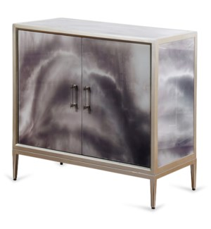 Grey Black and Cream Smokey High Gloss Cabinet | 33in X 34in X 17in | Two Door Cabinet
