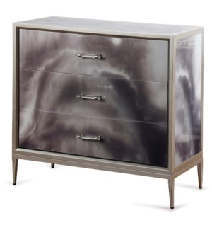 Grey Black and Cream Smokey High Gloss Chest | 34in X 36in X 16in | Three Drawer Chest