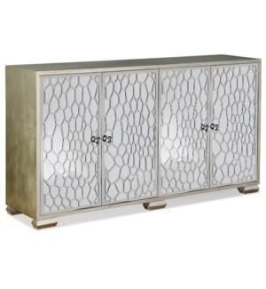 Honeycomb Mirrored Four Door Credenza | 37in X 68in X 18in | Four Door Credenza