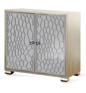 Honeycomb Mirrored Two Door Cabinet | 34in X 36in X 17in | Two Door Cabinet