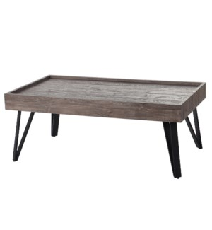 Grey Weathered Wooden Coffee Table with Black Metal Hairpin Legs | 17in X 43in X 24in | Coffee Table