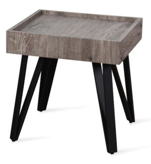 Grey Weathered Wooden Side Table with Black Metal Hairpin Legs | 20in X 20in X 20in | Side Table