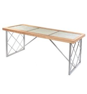 Wooden Floral Engraved Glass Top Dining Table | 30in X 71in X 32in | Dining Table