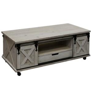 SAWYER COFFEE TABLE | 24in X 47in X 18in | Farm Inspired Coffee Table On Castors with Barn Door Deta