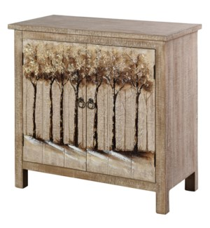 WILLOW HAND PAINTED CABINET | 32in X 32in X 15in | Hand Painted Two Door Cabinet With Landscape Desi